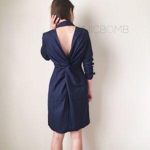 Amal sexy twisted back shirt dress